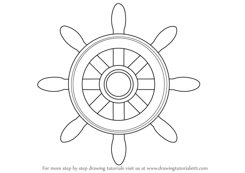 800x566 Learn How To Draw A Boat Wheel (Boats And Ships) Step By Step
