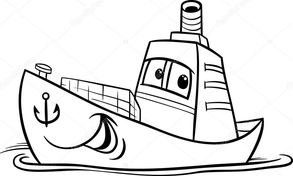 1023x614 Container Ship Cartoon Coloring Page Stock Vector Izakowski