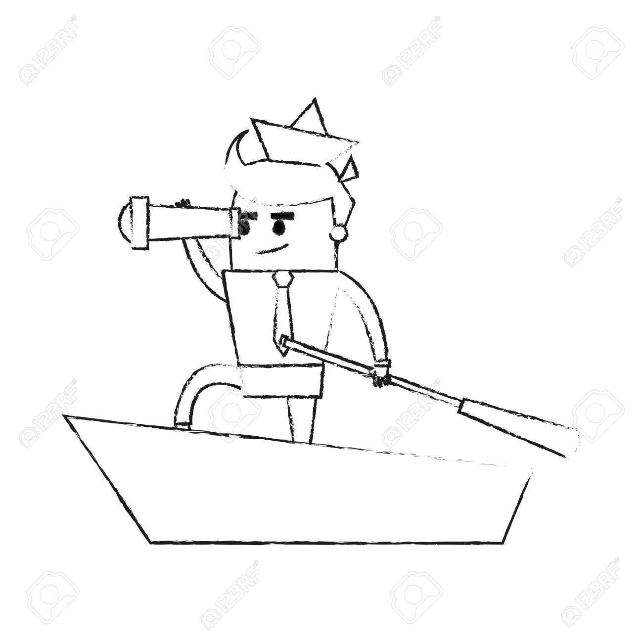 1300x1300 Blurred Silhouette Image Cartoon Leader Business Man In Boat