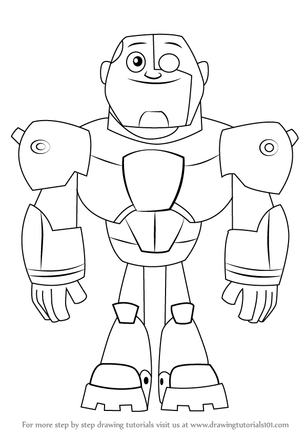 597x844 Learn How To Draw Cyborg From Teen Titans Go (Teen Titans Go