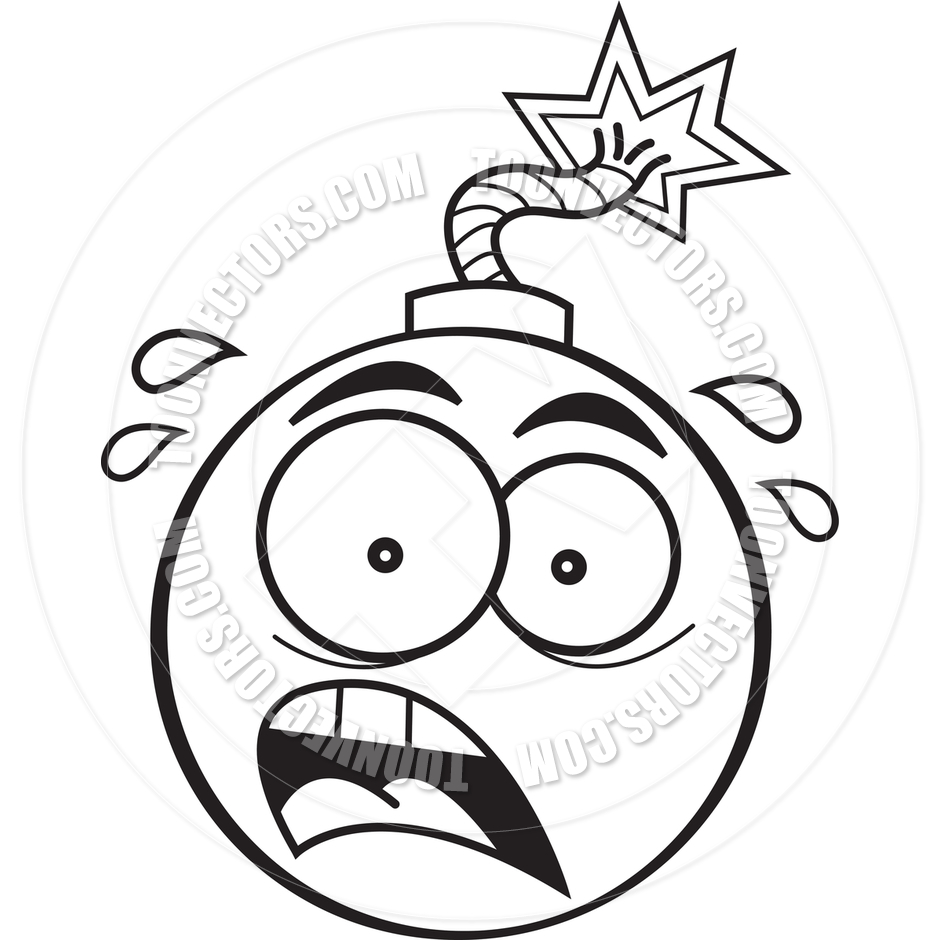 940x940 Cartoon Bomb (Black And White Line Art) By Kenbenner Toon