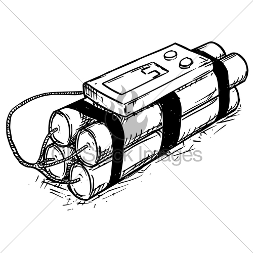 500x500 Cartoon Vector Of Time Bomb With Digital Display Gl Stock Images