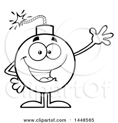 450x470 Clipart Of A Cartoon Black And White Lineart Waving Bomb Mascot