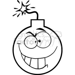 300x300 Royalty Free Black White Cartoon Bomb Character 384238 Vector Clip