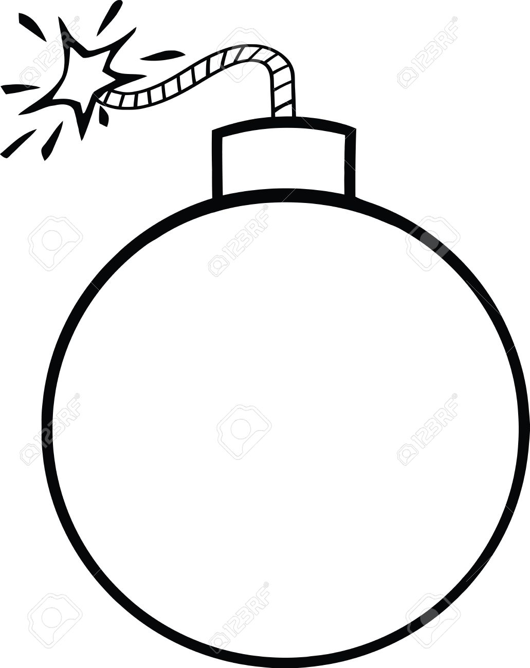 1031x1300 Black And White Cartoon Bomb With Lit Fuse Illustration Isolated