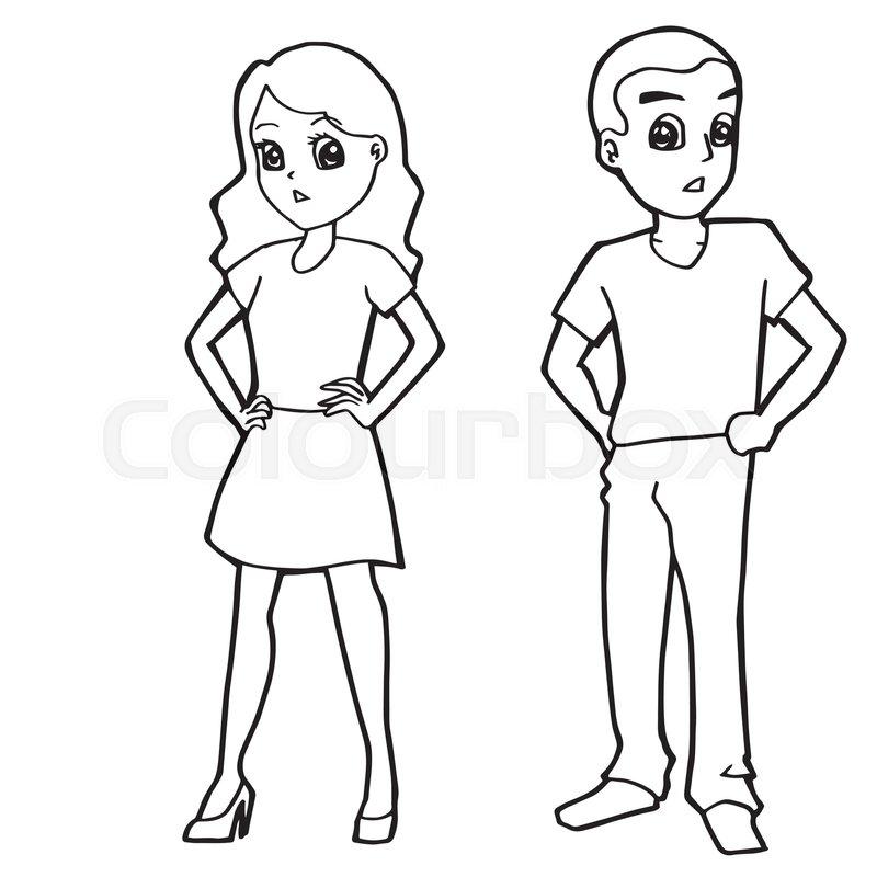 800x800 Cartoon Kid Boy Girl Or Human Coloring Page Vector Illustration
