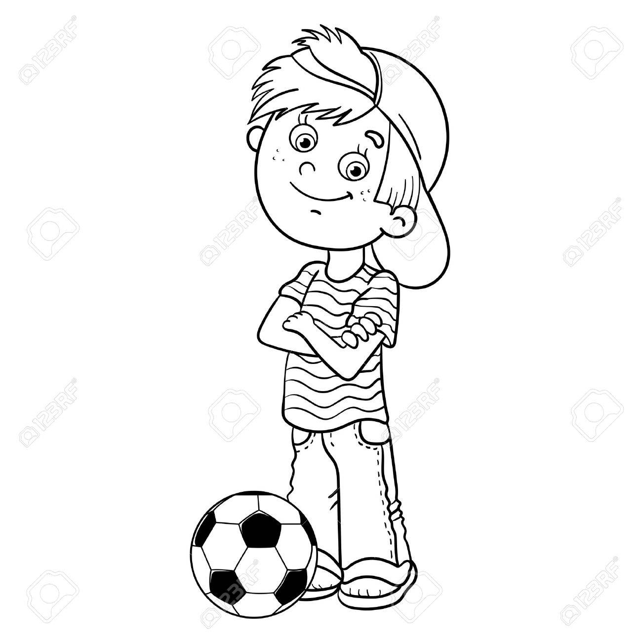 1300x1300 Coloring Page Outline Of A Cartoon Boy With A Soccer Ball Royalty