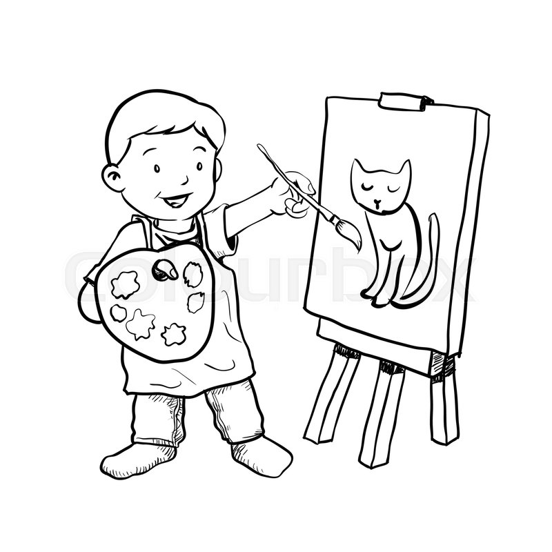 800x800 Hand Drawing Of Cartoon Boy Painter Isolated On White Background