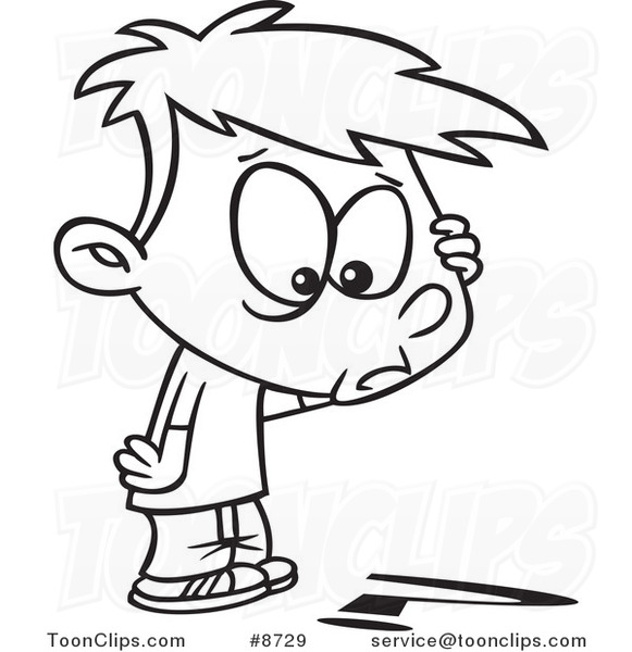 581x600 Cartoon Black And White Line Drawing Of A Confused Boy Looking