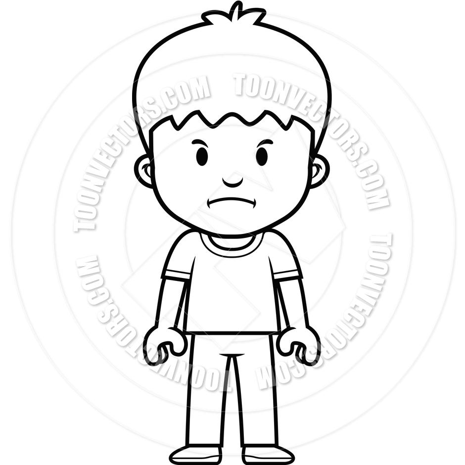 Cartoon boy mad