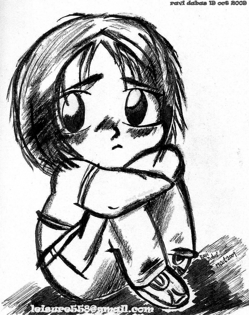 812x1024 Alone Cartoon Image With Pencil Draw Boy Anime Boys Sad Face Sad