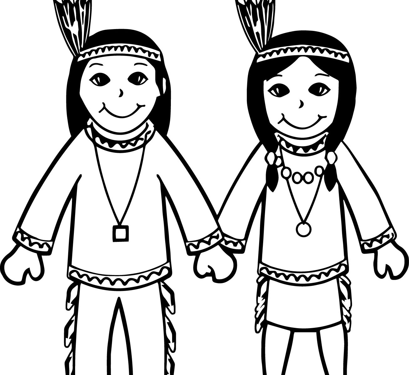 1307x1200 Indian Chief Boy Illustration Coloring Pages Page Free Printable