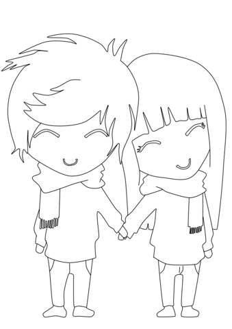 339x480 Anime Boy And Girl Coloring Page Free Printable Coloring Pages