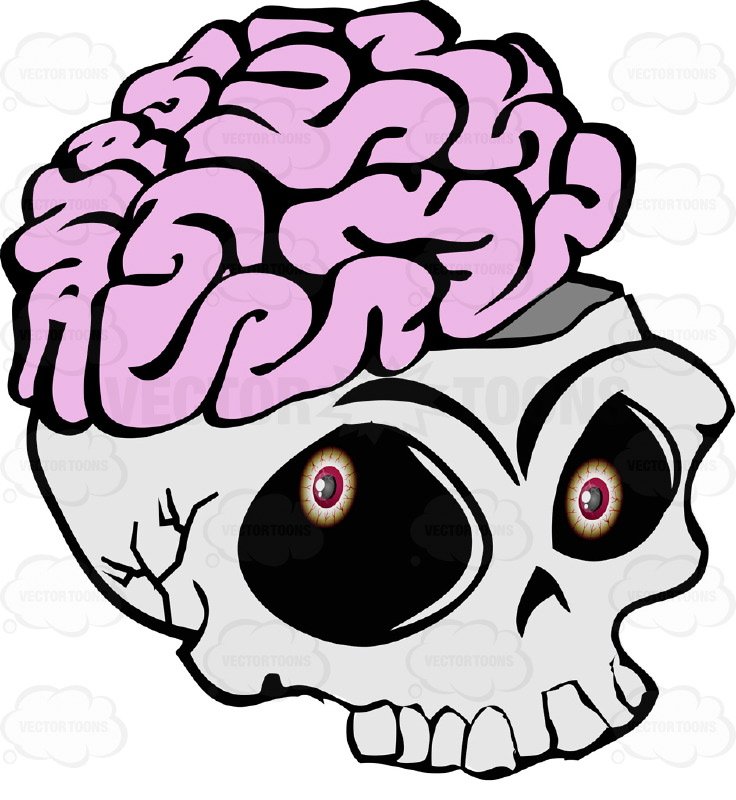 736x800 Cartoon Skull Open Showing Exposed Brain Overflowing Missing Lower Jaw