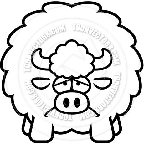 460x460 Cartoon Buffalo Sad (Black Amp White Line Art) By Cory Thoman Toon