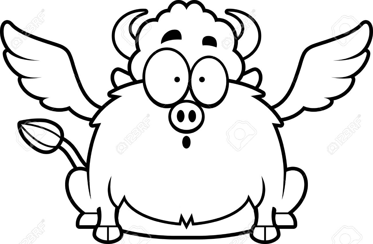 1300x852 A Cartoon Illustration Of A Buffalo With Wings Looking Surprised