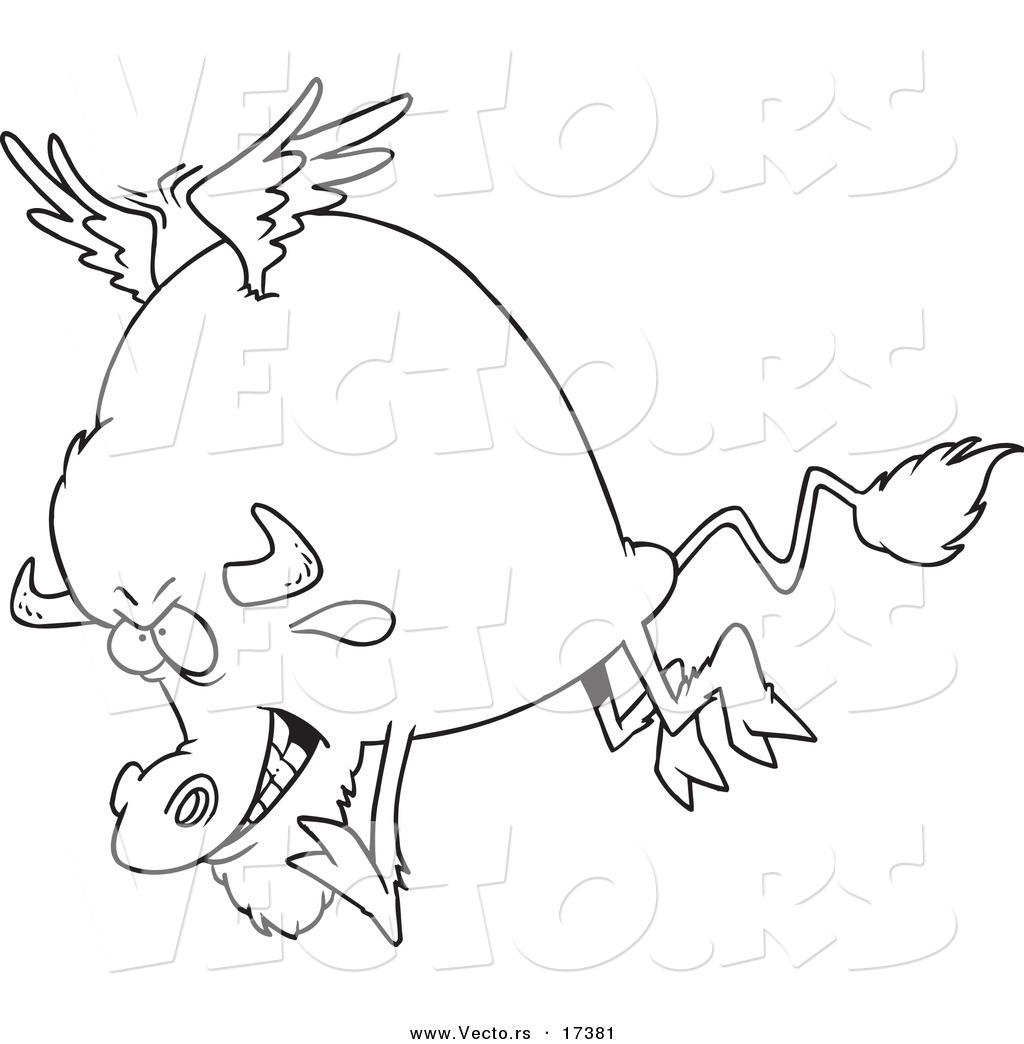 1024x1044 Vector Of A Cartoon Buffalo With Wings