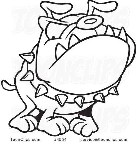 581x600 Cartoon Black And White Line Drawing Of A Bulldog Wearing A Spiked