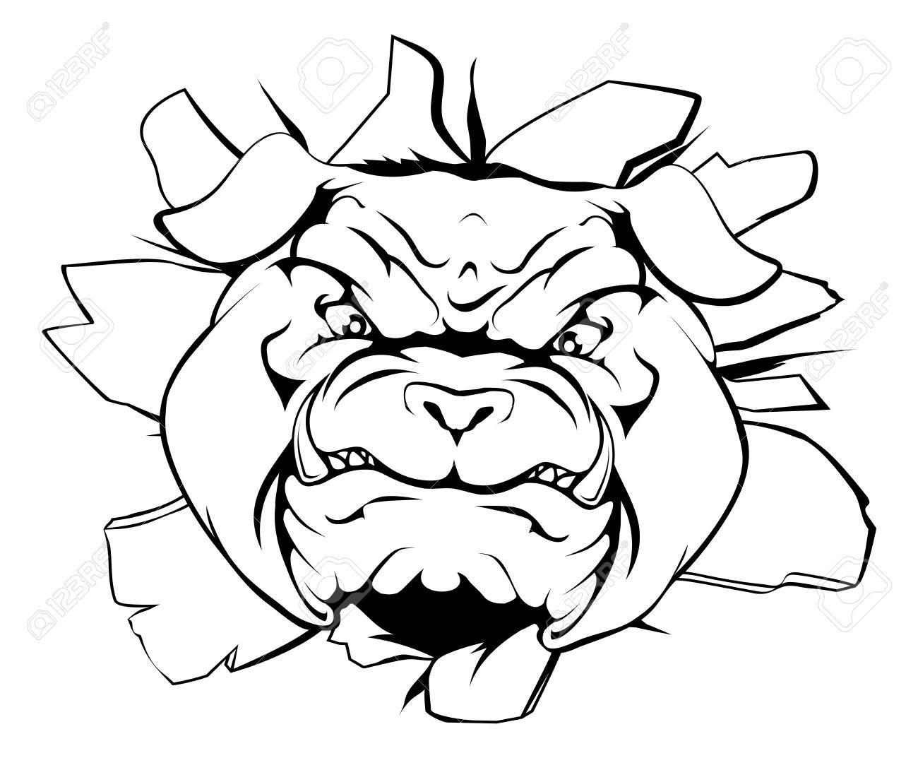 1300x1073 An Illustration Of A Cartoon Tough Bulldog Character Face Tearing