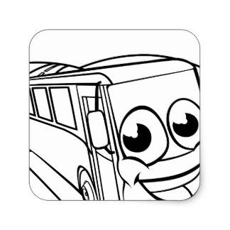 324x324 Cartoon Bus Stickers Zazzle.co.uk