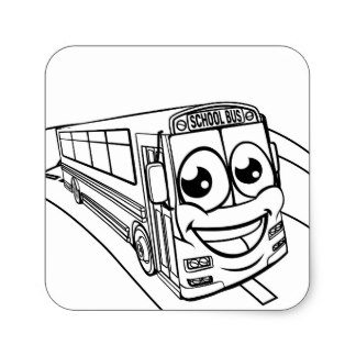 324x324 Cartoon Yellow Bus Stickers Zazzle