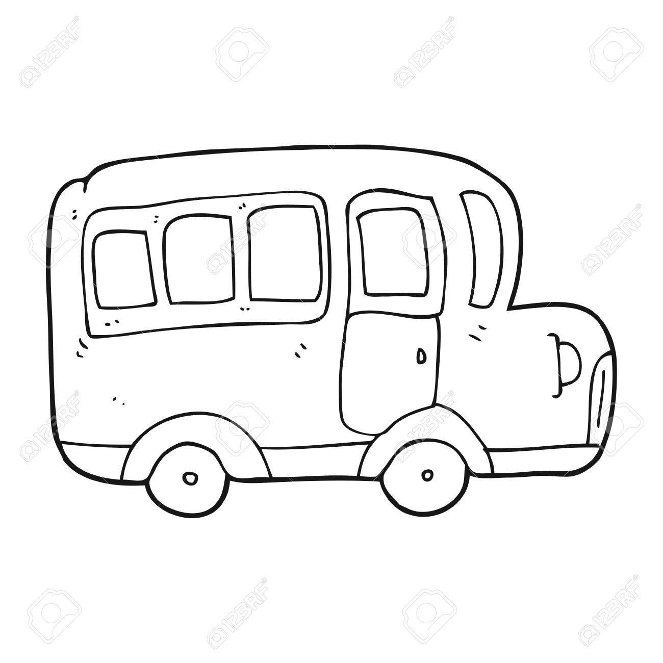 1300x1300 Freehand Drawn Black And White Cartoon Yellow School Bus Royalty