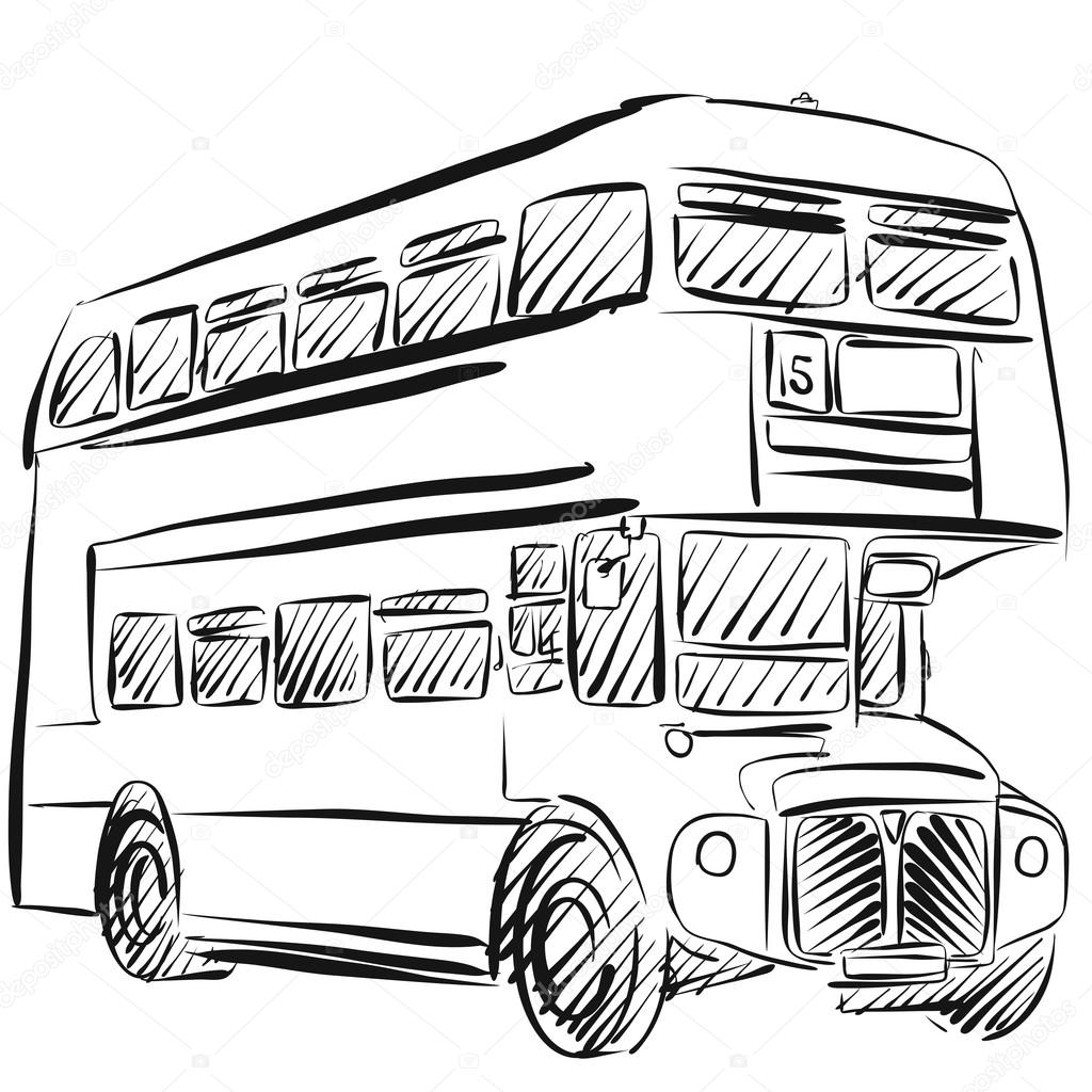 1024x1024 London Bus Freehand Sketch Stock Vector