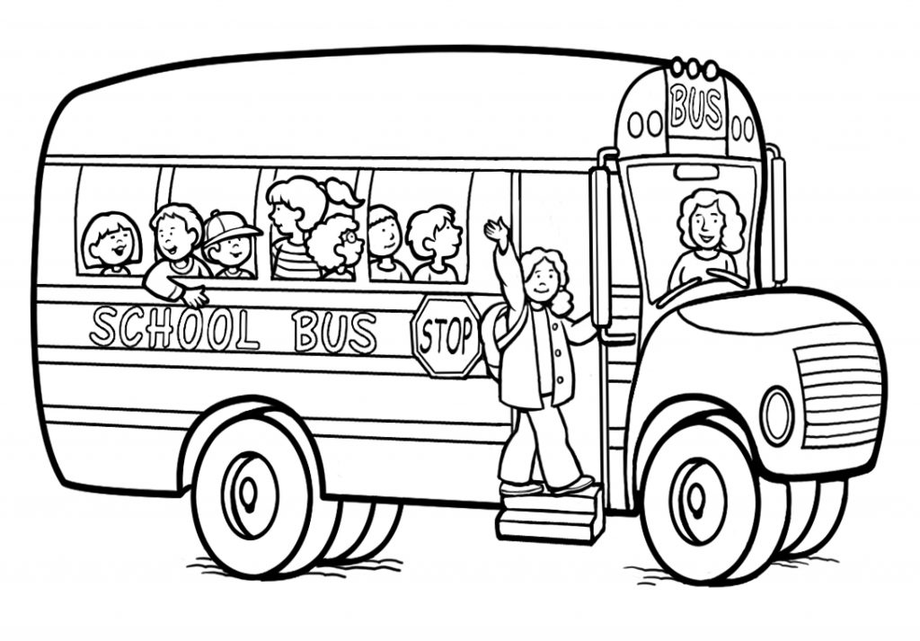 1024x713 Old School Bus Coloring Page Free Printable Pages Kids Safety