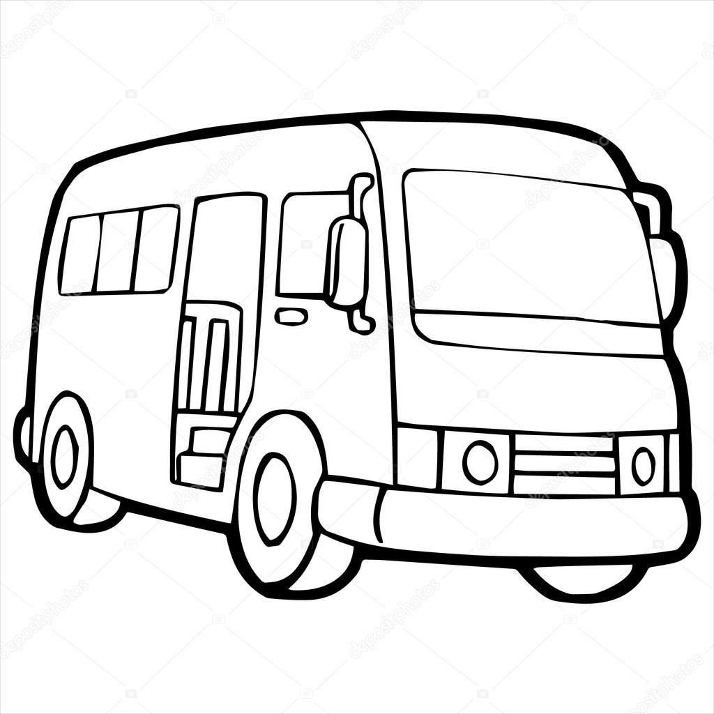 1024x1024 Bus Cartoon Illustration Isolated On White Stock Vector
