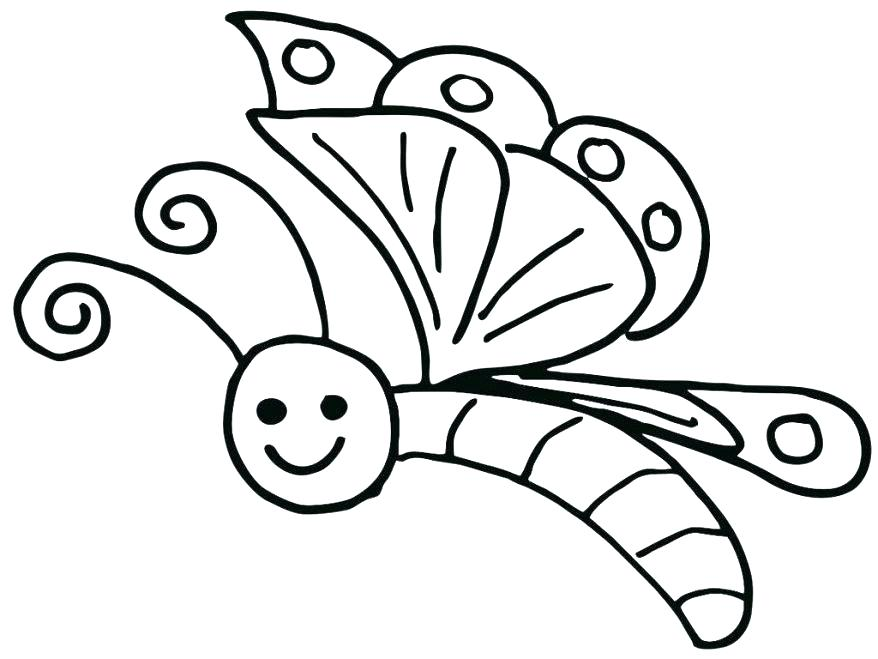 878x659 Cartoon Butterfly Coloring Pages Free Printable For Kids Regarding