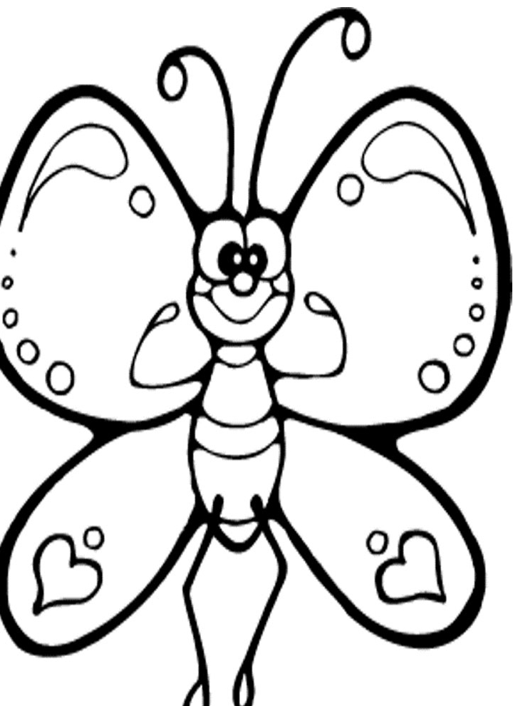 727x990 Butterfly Cartoon Kids Coloring Pages