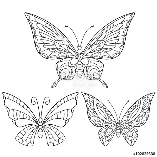 500x500 Zentangle Stylized Cartoon Collection Of Butterflies Isolated