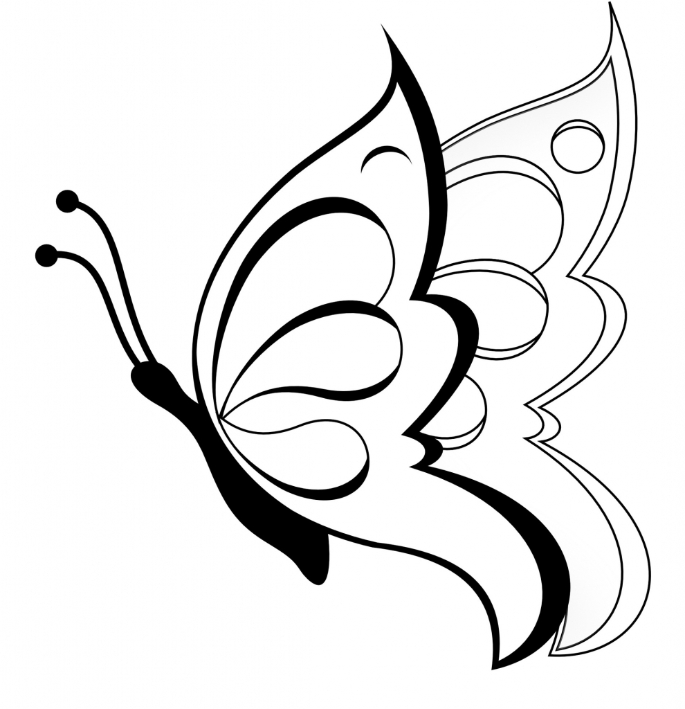 990x1024 Butterfly Clipart Easy