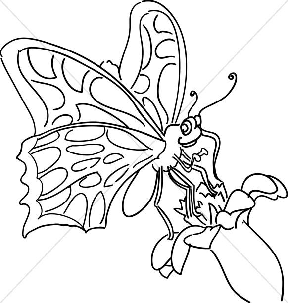 582x612 Cartoon Butterfly Childrens Church Clipart