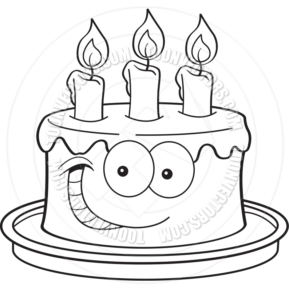 940x940 Cartoon Cake With Candles (Black And White Line Art) By Kenbenner