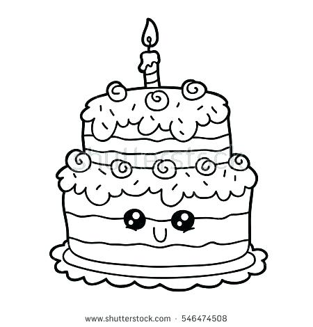 450x470 Coloring Page Birthday Cake Drawn Birthday Coloring Page Free