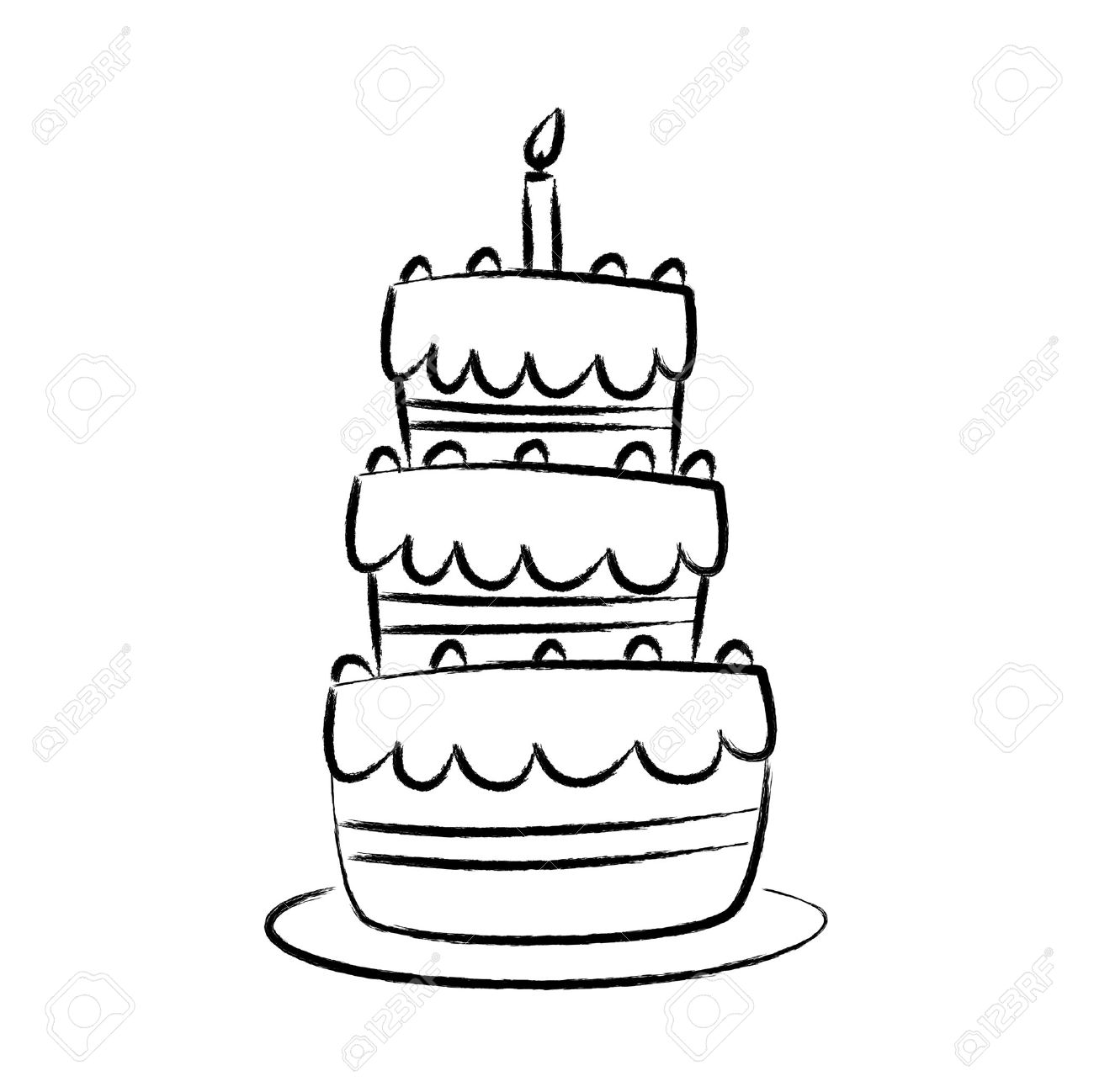 1300x1298 Drawing Of Cake Royalty Free Cliparts, Vectors, And Stock