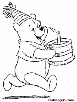 254x338 Print Out Coloring Pages Winnie The Pooh With A Birthday Cake