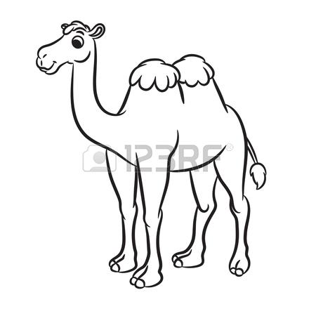 450x450 Cartoon Illustration Of Cute Camel Outlined. Vector Illustration