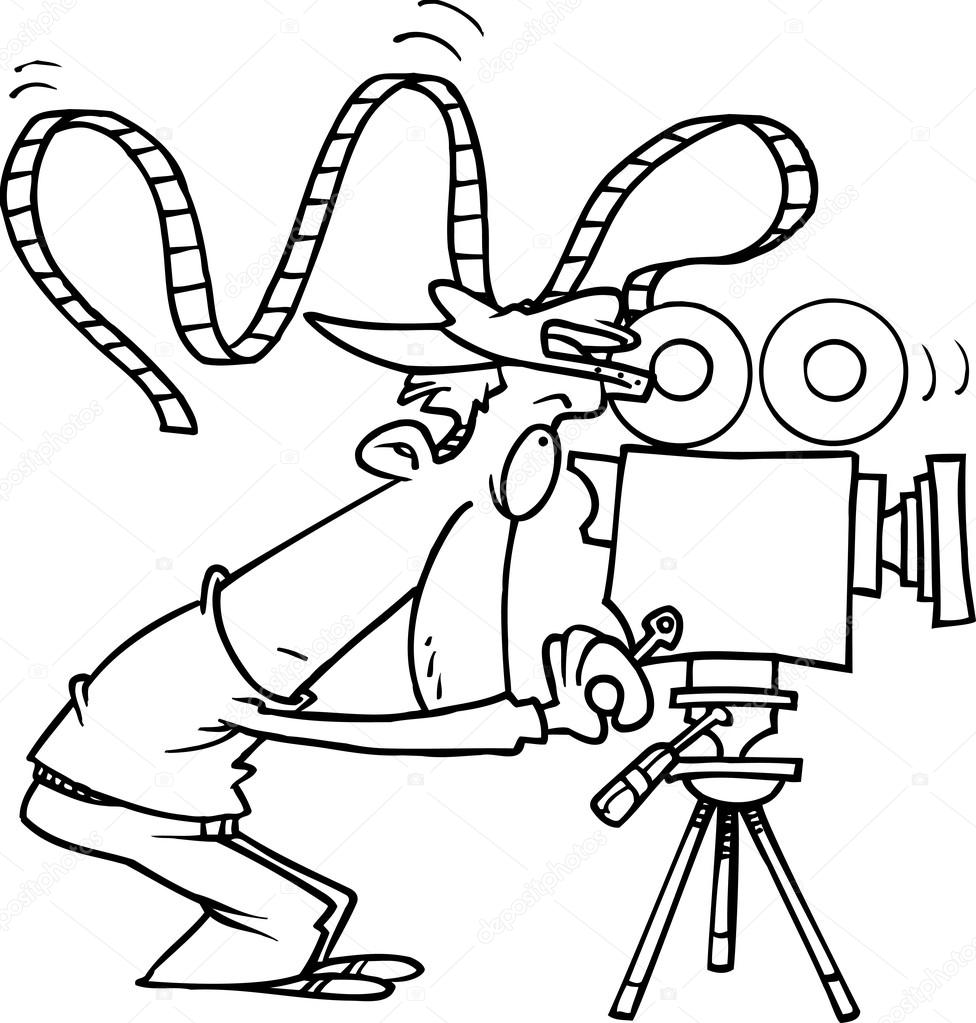 976x1023 Cartoon Movie Camera Operator Stock Vector Ronleishman