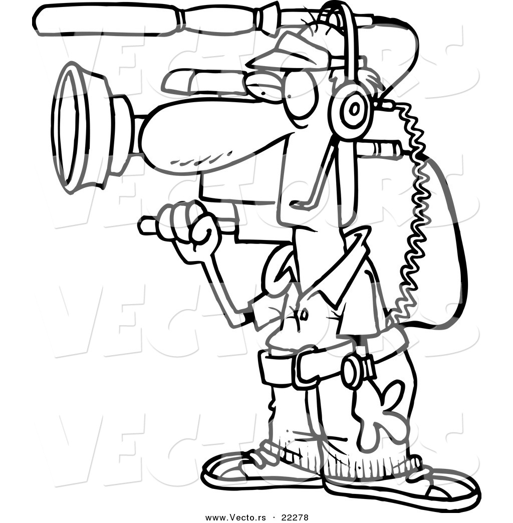 1024x1044 Vector Of A Cartoon Working Camera Man