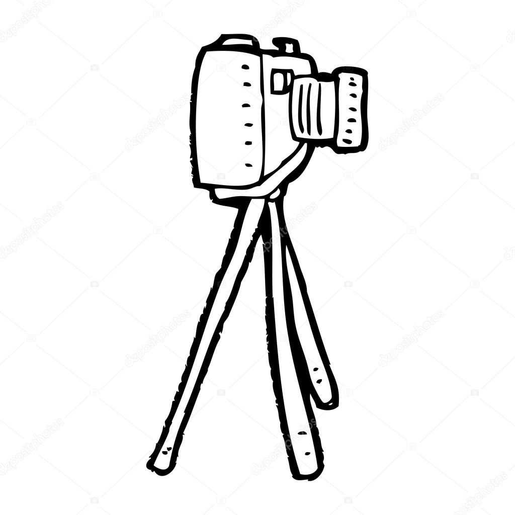 1024x1024 Camera On Tripod Cartoon Stock Vector Lineartestpilot