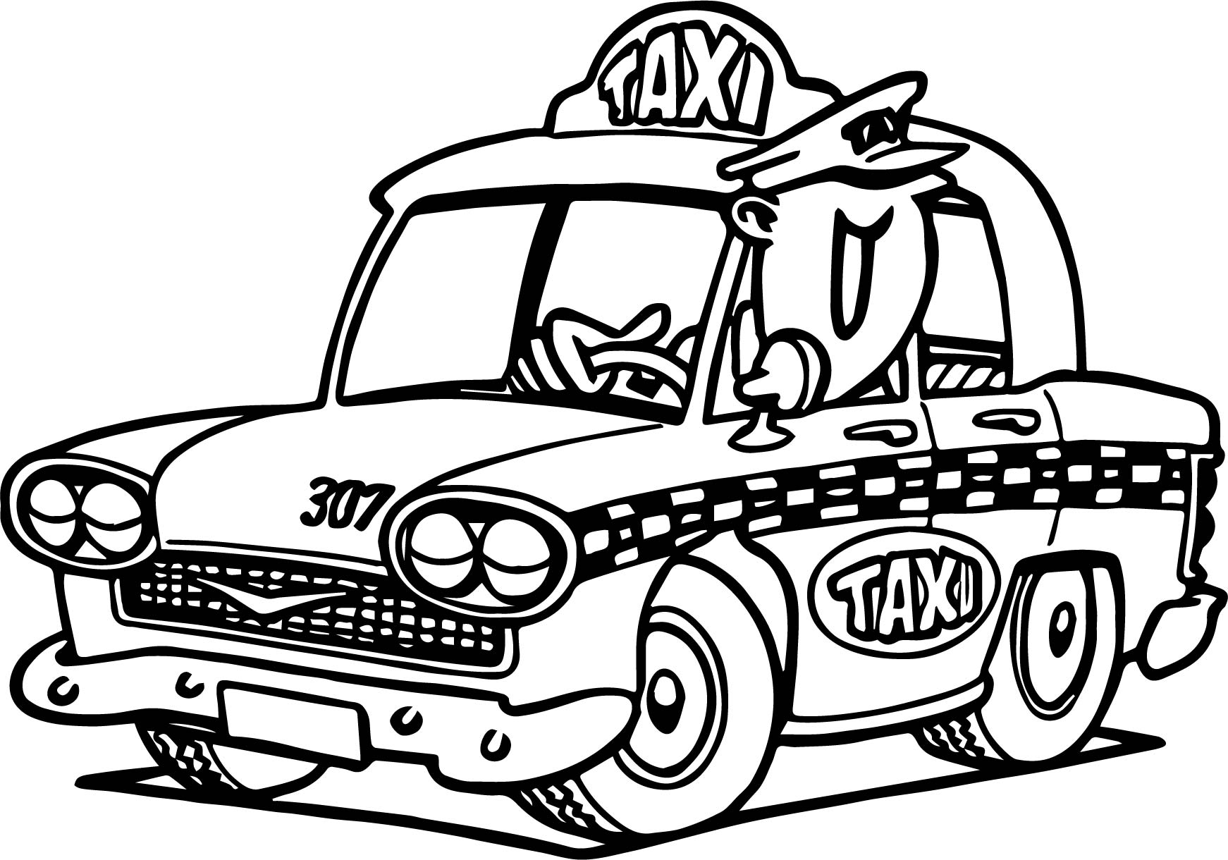 1742x1220 Cartoon Taxi Driver Car Coloring Page Wecoloringpage