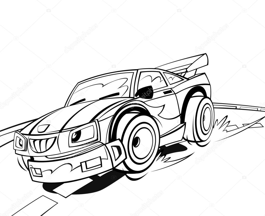 1024x836 Cartoon Scene With Speeding Car Stock Photo Illustrator Hft