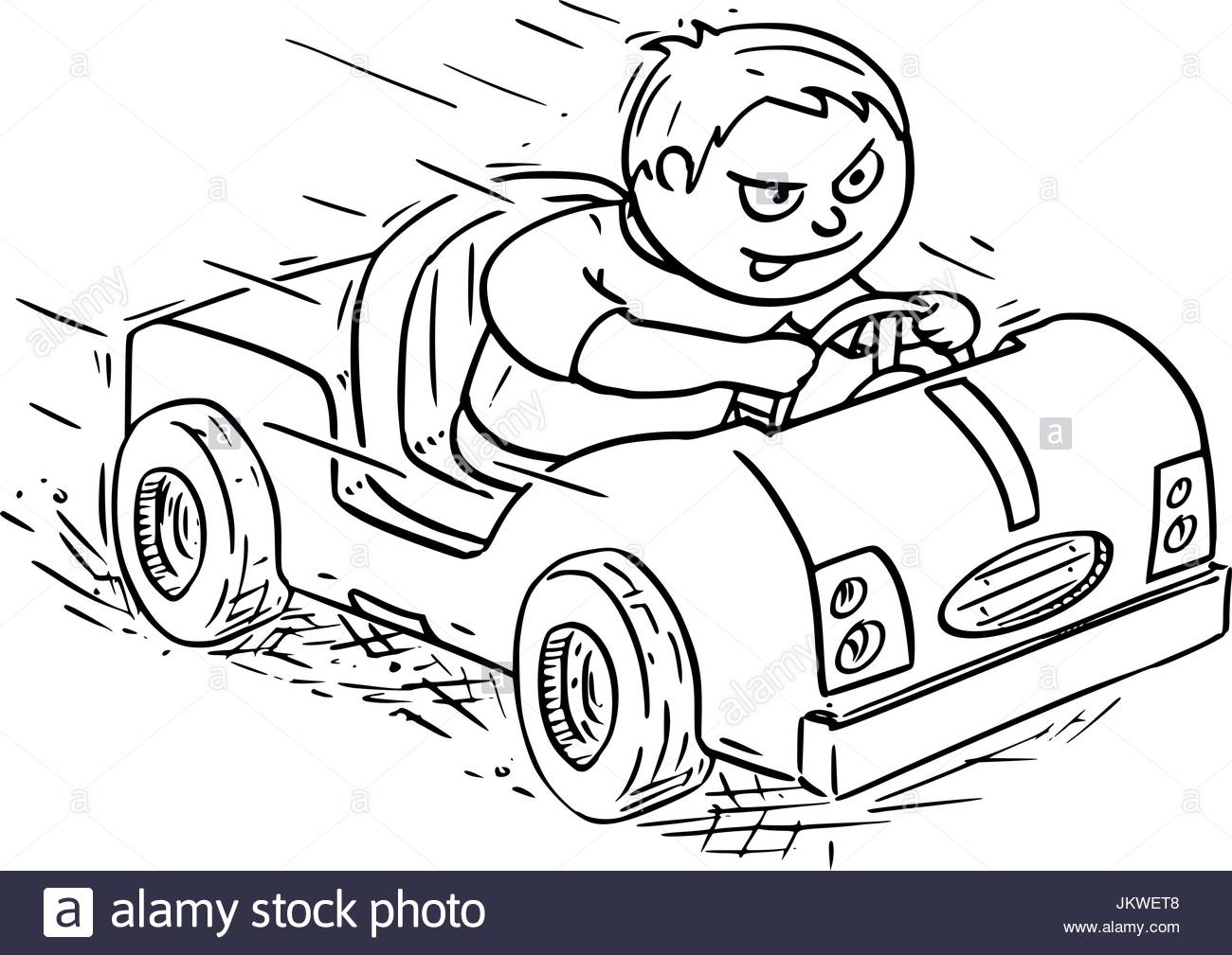 1300x1009 Hand Drawing Vector Cartoon Of A Boy Driving Pedal Or Battery