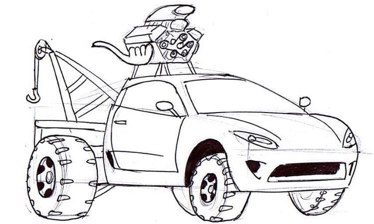 750x450 Crazy Cartoon Car Drawin Tow Truck Junior Car Designer