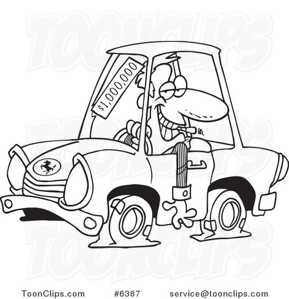 581x600 Cartoon Black And White Line Drawing Of A Deceptive Car Salesman