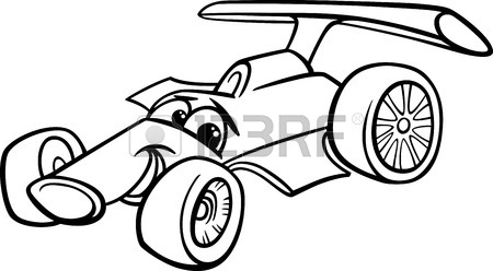 450x248 Black And White Cartoon Illustration Of Funny Racing Car Vehicle