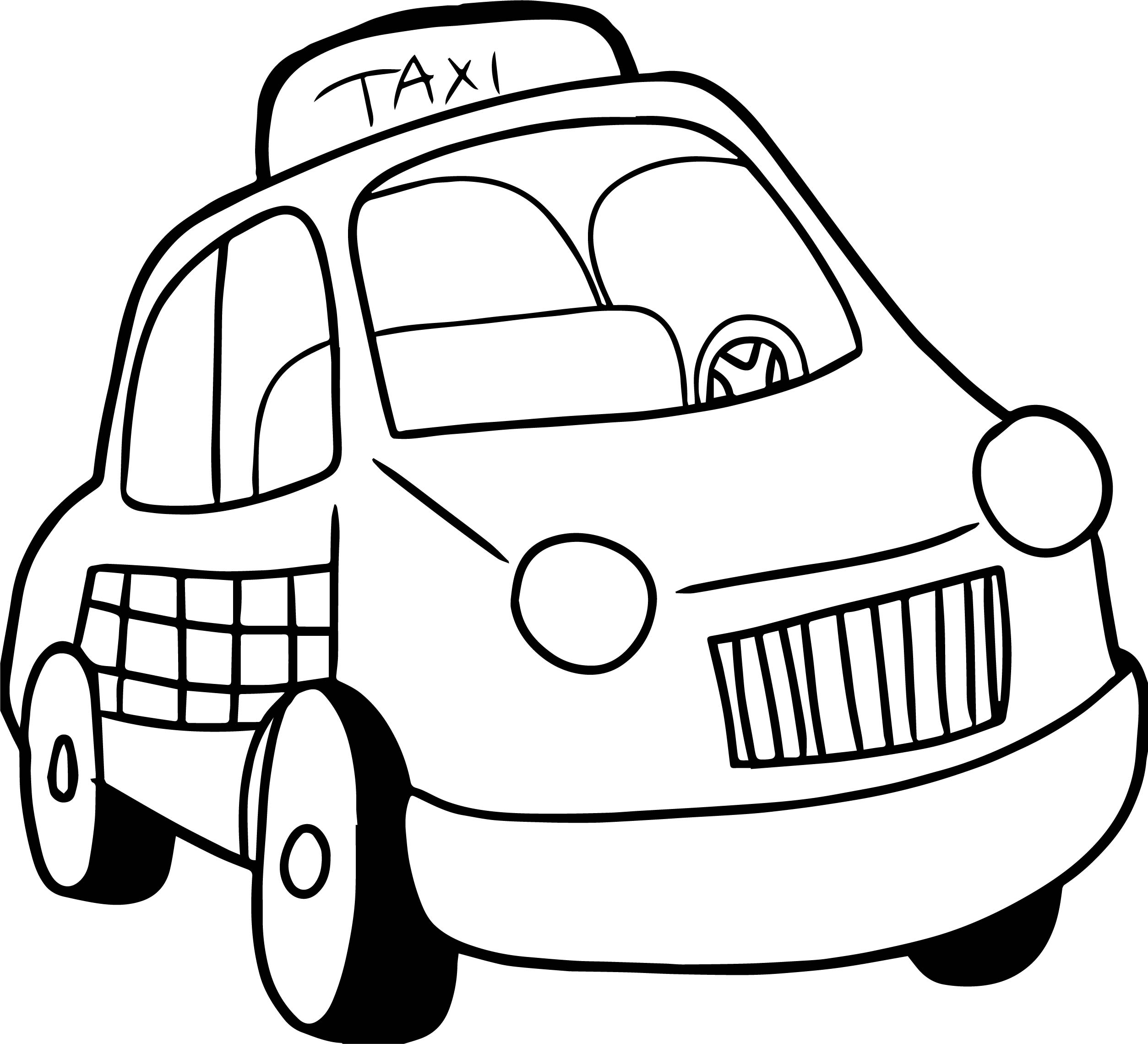 2507x2279 Taxi Driver Car Cartoon Coloring Page Wecoloringpage
