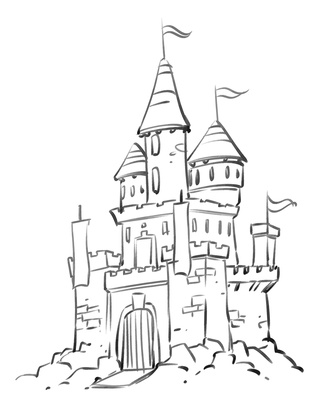 333x400 Castle Coloring Pages, Cartoon Disney Palace Drawing Just Free